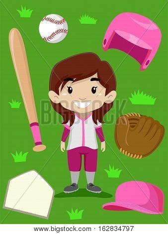 Vector Illustration of Baseball Player Girl Elements
