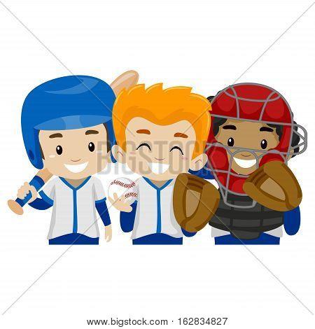 Vector Illustration of Three Baseball Player Kids