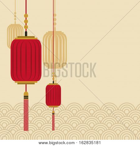 decorative chinese lanterns hanging. colorful design. vector illustration