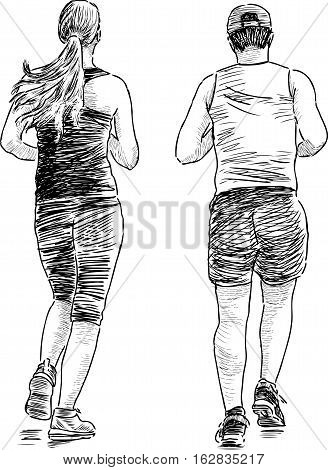 Vector drawing of the couple at a morning jog.