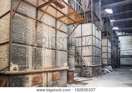 Abandoned old steam bricks boilers in factory