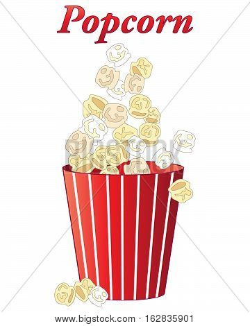 an illustration of delicious fresh popcorn in a red and white stripey carton on a white background