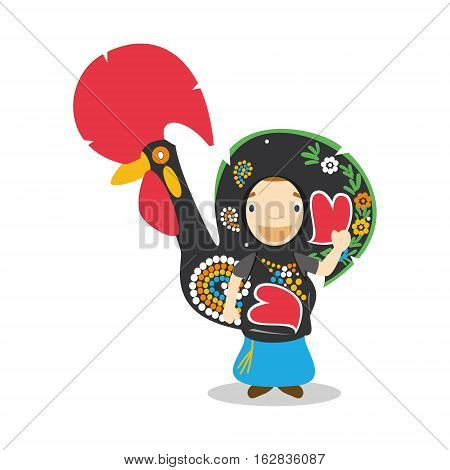 Character from Portugal disguised as typical Barcelos rooster. Vector Illustration. Kids of the World Collection.