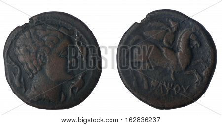 As of iltirta (Lleida) Obverse: Male Head Reverse: Rider mackerel carrying a palm
