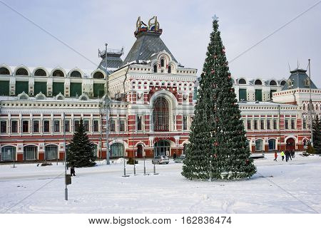 RUSSIA NIZHNY NOVGOROD - DEC 10 2016: Exhibition House fragment ensemble of the Nizhny Novgorod fair was created in 1817. In December of this year there is carried out orthodox international fair