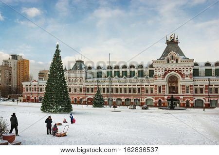 RUSSIA NIZHNY NOVGOROD - DEC 10 2016: Exhibition House ensemble of the Nizhny Novgorod fair was created in 1817. In December of this year there is carried out orthodox international fair