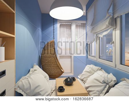 3d illustration of interior design space to relax on the balcony. Interior is made in modern minimalist style