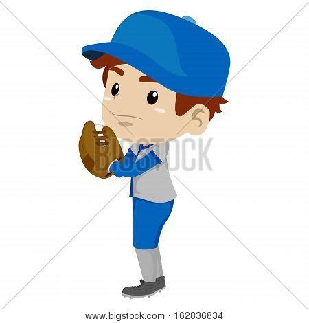 Vector Illustration of a Kid Boy Baseball Player Pitcher