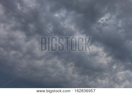 Dark ominous grey storm clouds. Dramatic sky natural cloudy background
