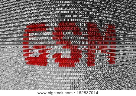GSM in the form of binary code, 3D illustration