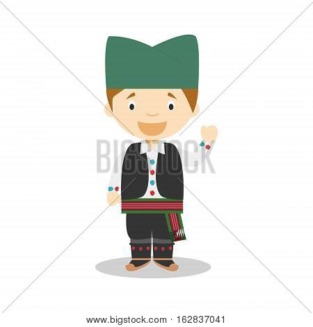 Character from Serbia dressed in the traditional way Vector Illustration. Kids of the World Collection.