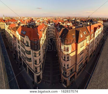 Brno city under sunset air view. Morawia Czech Republic Europe.