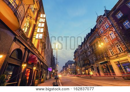 Hotel on the street in Gliwice Poland Europe.