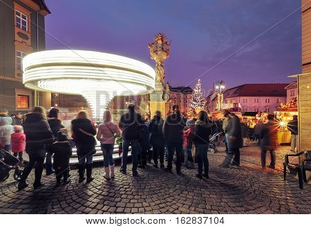 Christmas celebration in old town of Brno Czech Republic.