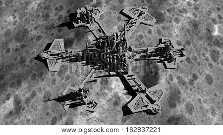 futuristic city, base, town on moon. The space view of the planet earth. expedition. 3d rendering.