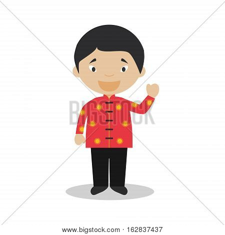 Character from Singapore dressed in the traditional way Vector Illustration. Kids of the World Collection.