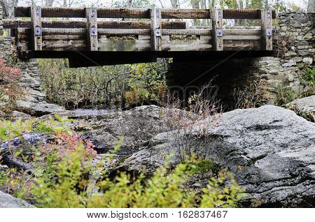 Bridge crossing Eightmile River in Devil's Hopyard State Park