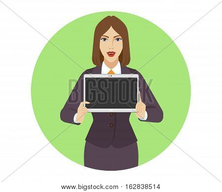 Businesswoman showing blank digital tablet PC. Portrait of businesswoman in a flat style. Vector illustration.
