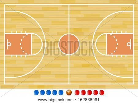 Vector Illustration of Basketball Court. Best for Basketball, Sport, Backgrounds concept.
