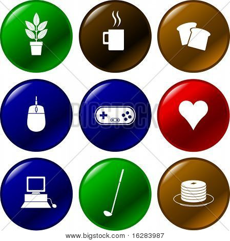 diverse buttons with symbols