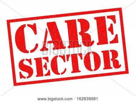 CARE SECTOR red Rubber Stamp over a white background.