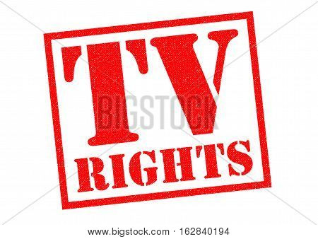TV RIGHTS red Rubber Stamp over a white background.