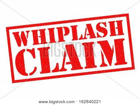 WHIPLASH CLAIM red Rubber Stamp over a white background.
