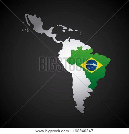 latin america map with the brazil country flag  over blue background. vector illustration