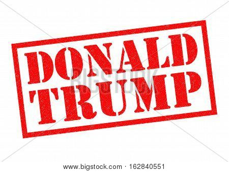 LONDON UK - 11TH OCTOBER 2016: A DONALD TRUMP red Rubber Stamp over a plain white background on 11th October 2016.