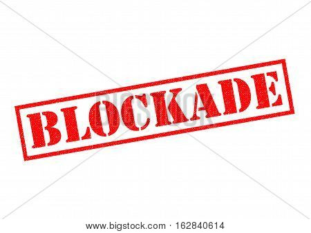 BLOCKADE red rubber Stamp over a white background.