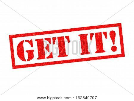 GET IT! red Rubber Stamp over a white background.