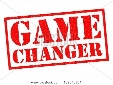GAME CHANGER red Rubber Stamp over a white background.