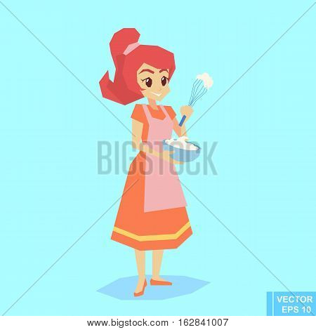 Happy Housewife Holding Bowl And Whisk Cartoon Vector Illustration