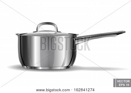Metal Pan Realistic. Preparation Wholesome Food. Cooking. Kitchen Tools.
