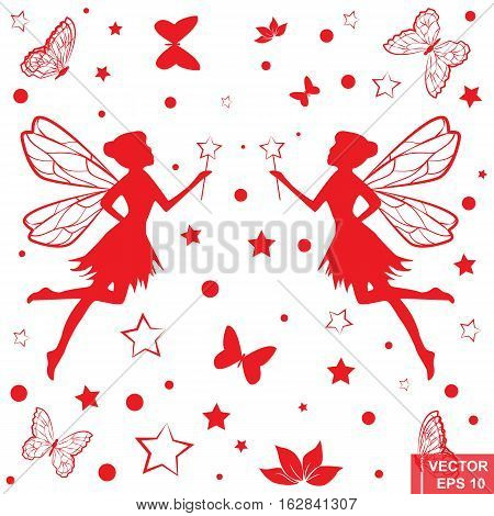 Silhouettes Of Fairies And Butterflies. For Girls. Set. Isolated On White Background.