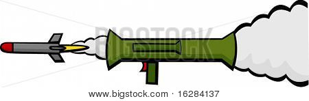 bazooka weapon firing a rocket