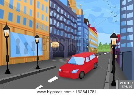 Daytime Cityscape. A Car. High-rise Buildings. Cartoon Style.