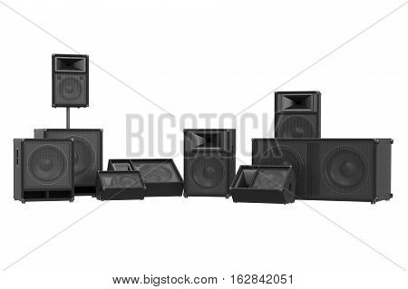 Speakers audio loud black woofer electronic, front view. 3D rendering