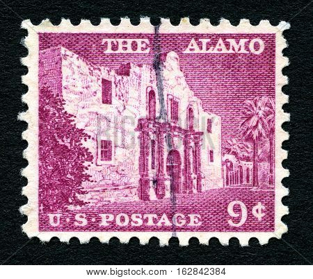 UNITED STATES OF AMERICA - CIRCA 1954: A used postage stamp from the United States of America portraying an illustration of the Alamo circa 1954.