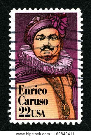 UNITED STATES OF AMERICA - CIRCA 1987: A used postage stamp from the United States of America portraying an illustratrion of Enrico Caruso circa 1987.