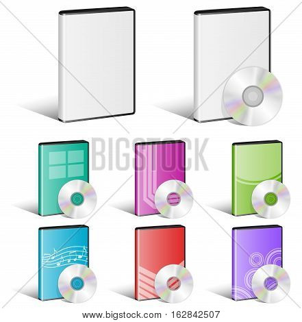 Vector Illustration of Software Disks Cover Designs. Best for Computer, Technology, Application Software, Media, Music concept.