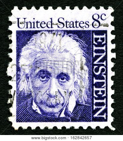 UNITED STATES OF AMERICA - CIRCA 1965: A used postage stamp depicting a portrait of famous physicist Albert Einstein (1879-1955) printed in America circa 1965. The stamp commemorates the 10th year since his death.