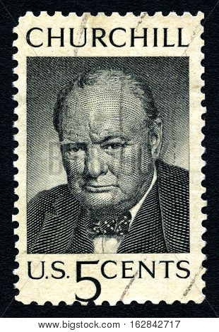 UNITED STATES OF AMERICA - CIRCA 1965: a postage stamp printed in USA showing an image of sir Winston Churchill (1874-1965) circa 1965.
