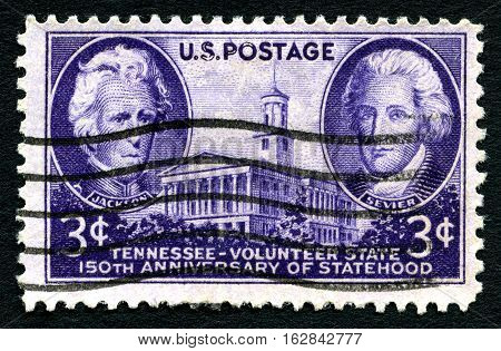 USA - CIRCA 1946: A stamp printed by USA shows image portraits of President Andrew Jackson and Governor John Sevier. Tennessee Volunteer State 150th Anniversary of Statehood circa 1946.