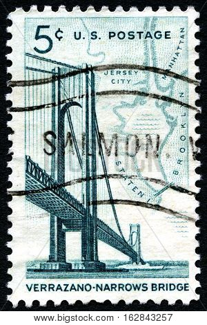UNITED STATES OF AMERICA - CIRCA 1964: A used postage stamp from the USA depicting an illustration of the Verrazano Narrows Bridge in New York circa 1964.