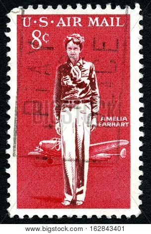 UNITED STATES OF AMERICA - CIRCA 1963: A used postage stamp from the USA celebrating American aviation pioneer Amelia Earhart circa 1963.