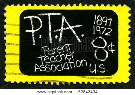 UNITED STATES OF AMERICA - CIRCA 1972: A used postage stamp from the USA celebrating the 75th Anniversary of the Parent Teacher Association circa 1972.