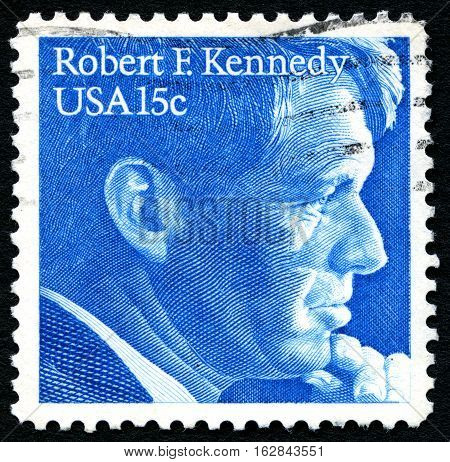 UNITED STATES OF AMERICA - CIRCA 1979: A used postage stamp from the USA depicting an illustration of Robert F. Kennedy circa 1979.