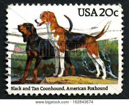 UNITED STATES OF AMERICA - CIRCA 1984: A used postage stamp from the USA depicting an illustration of a black and tan Coonhound and an American Foxhound circa 1984.
