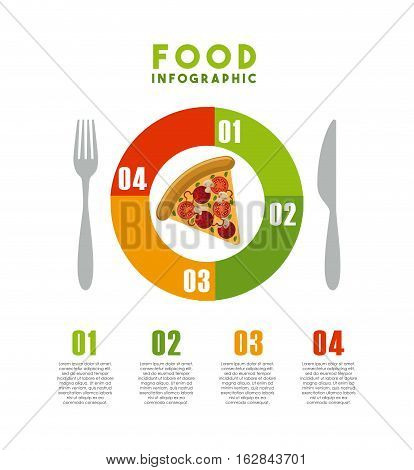infographic presentation of food with pizza and cutlery icons. colorful design. vector illustration